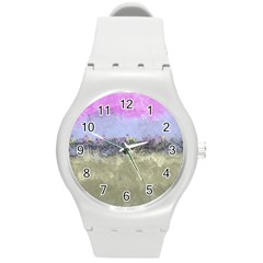 Abstract Garden In Pastel Colors Round Plastic Sport Watch (m) by theunrulyartist
