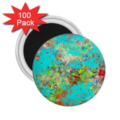 Abstract Garden In Aqua 2 25  Magnets (100 Pack)  by theunrulyartist