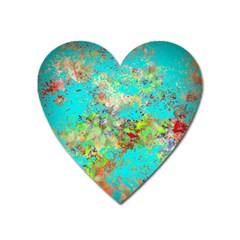 Abstract Garden In Aqua Heart Magnet by theunrulyartist