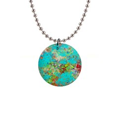 Abstract Garden In Aqua Button Necklaces by theunrulyartist