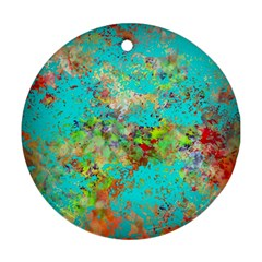 Abstract Garden in Aqua Round Ornament (Two Sides)  by theunrulyartist