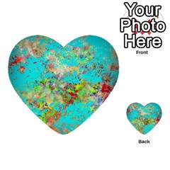 Abstract Garden In Aqua Multi Purpose Cards (heart)  by theunrulyartist