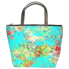 Abstract Garden In Aqua Bucket Bags by theunrulyartist