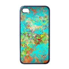 Abstract Garden In Aqua Apple Iphone 4 Case (black) by theunrulyartist