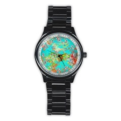 Abstract Garden In Aqua Stainless Steel Round Watches by digitaldivadesigns