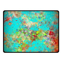 Abstract Garden In Aqua Double Sided Fleece Blanket (small)  by theunrulyartist
