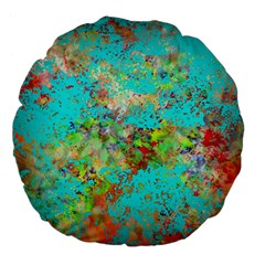 Abstract Garden In Aqua Large 18  Premium Flano Round Cushions by theunrulyartist