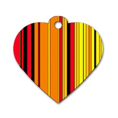 Hot Stripes Fire Dog Tag Heart (one Side) by ImpressiveMoments