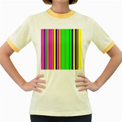 Hot Stripes Rainbow Women s Fitted Ringer T-Shirts by ImpressiveMoments