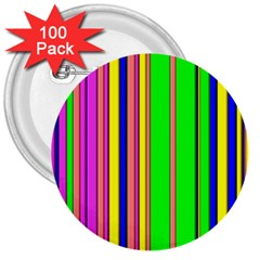 Hot Stripes Rainbow 3  Buttons (100 Pack)  by ImpressiveMoments