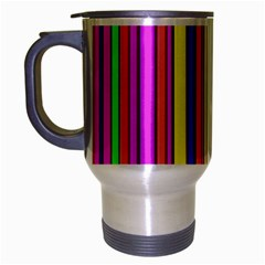 Hot Stripes Rainbow Travel Mug (Silver Gray) by ImpressiveMoments