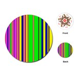 Hot Stripes Rainbow Playing Cards (Round)  Front