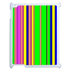 Hot Stripes Rainbow Apple Ipad 2 Case (white) by ImpressiveMoments