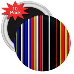 Hot Stripes Red Blue 3  Magnets (10 Pack)  by ImpressiveMoments