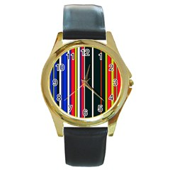 Hot Stripes Red Blue Round Gold Metal Watches by ImpressiveMoments