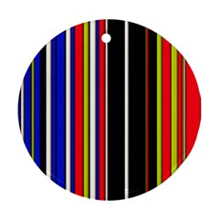 Hot Stripes Red Blue Round Ornament (two Sides)  by ImpressiveMoments