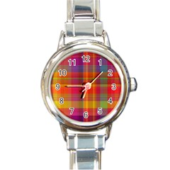 Plaid, Hot Round Italian Charm Watches by ImpressiveMoments