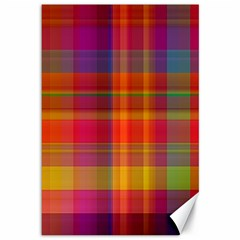 Plaid, Hot Canvas 12  X 18   by ImpressiveMoments