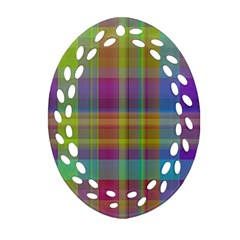 Plaid, Cool Oval Filigree Ornament (2 Side)