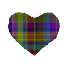Plaid, Cool Standard 16  Premium Heart Shape Cushions by ImpressiveMoments