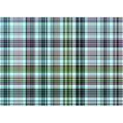 Plaid Ocean Birthday Cake 3d Greeting Card (7x5)