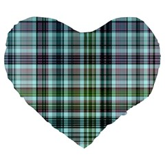 Plaid Ocean Large 19  Premium Flano Heart Shape Cushions by ImpressiveMoments