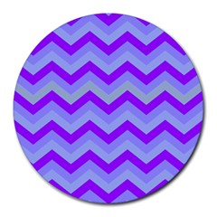 Chevron Blue Round Mousepads by ImpressiveMoments