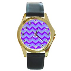 Chevron Blue Round Gold Metal Watches by ImpressiveMoments