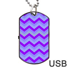 Chevron Blue Dog Tag Usb Flash (one Side)