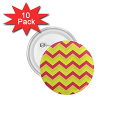 Chevron Yellow Pink 1 75  Buttons (10 Pack) by ImpressiveMoments