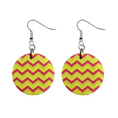 Chevron Yellow Pink Mini Button Earrings by ImpressiveMoments