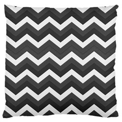Chevron Dark Gray Standard Flano Cushion Cases (One Side)  by ImpressiveMoments