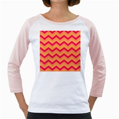 Chevron Peach Girly Raglans