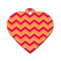 Chevron Peach Dog Tag Heart (Two Sides) by ImpressiveMoments