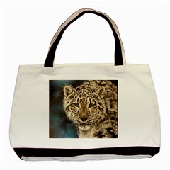 Snow Leopard Basic Tote Bag (two Sides)  by ArtByThree