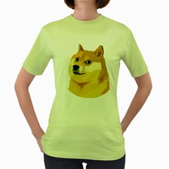 Dogecoin Women s Green T Shirt by dogestore