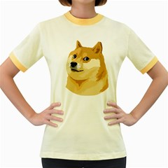 Dogecoin Women s Fitted Ringer T Shirts by dogestore