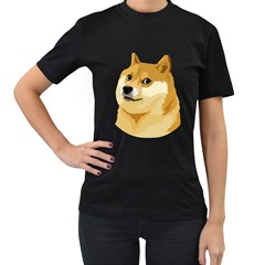 Dogecoin Women s T-Shirt (Black) (Two Sided) by dogestore