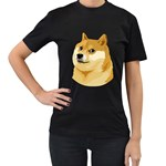 Dogecoin Women s T-Shirt (Black) (Two Sided)