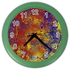 Abstract In Gold, Blue, And Red Color Wall Clocks by digitaldivadesigns