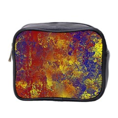 Abstract In Gold, Blue, And Red Mini Toiletries Bag 2 Side by theunrulyartist
