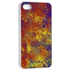 Abstract In Gold, Blue, And Red Apple Iphone 4/4s Seamless Case (white) by theunrulyartist