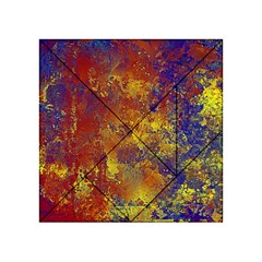 Abstract In Gold, Blue, And Red Acrylic Tangram Puzzle (4  X 4 ) by theunrulyartist