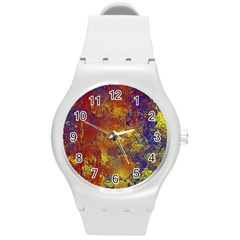 Abstract In Gold, Blue, And Red Round Plastic Sport Watch (m) by digitaldivadesigns