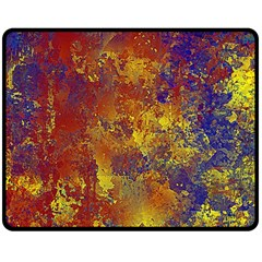 Abstract In Gold, Blue, And Red Double Sided Fleece Blanket (medium)