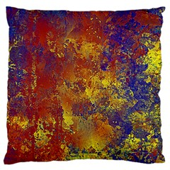 Abstract In Gold, Blue, And Red Large Flano Cushion Cases (one Side)  by theunrulyartist