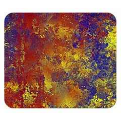 Abstract In Gold, Blue, And Red Double Sided Flano Blanket (small)  by theunrulyartist