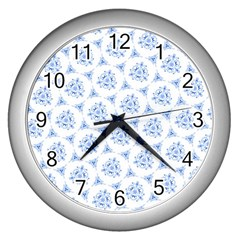 Sweet Doodle Pattern Blue Wall Clocks (silver)  by ImpressiveMoments