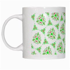 Sweet Doodle Pattern Green White Mugs by ImpressiveMoments