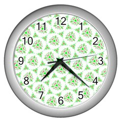 Sweet Doodle Pattern Green Wall Clocks (silver)  by ImpressiveMoments